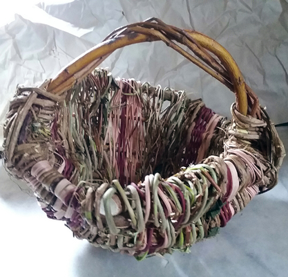 Handmade Basket Cranberry Reed